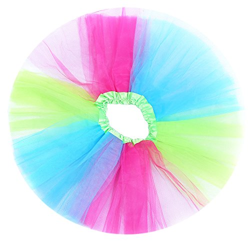 "Anleolife 12"" /8 Colors Rainbow Tutu Skirt Baby Girls Fluffy Birthday Tutu Dress Girls Princess Ballet Dance Tutu Dress (red blue green wispy)"