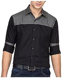 Bolt Men's Casual Shirt (bolt025, Black, L)