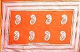 カンガ アフリカの布 ペイズリー・カシューナッツ柄 『?祈れば必ず叶います』 (オレンジ×ピンク) pe-69