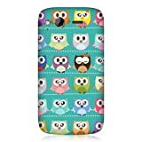 Head Case Designs Kawaii Green Owl Patterned Protective Back Case Cover for HTC Desire S