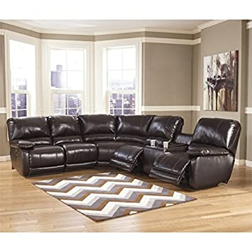 Ashley Capote Leather Right Power Reclining Sectional in Chocolate