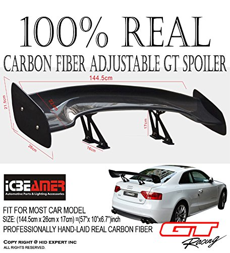 JDM CARBON FIBER GT STYLE 57 inch Universal RACING REAR/BACK TRUNK SPOILER/WING (Civic 99 Spoiler compare prices)