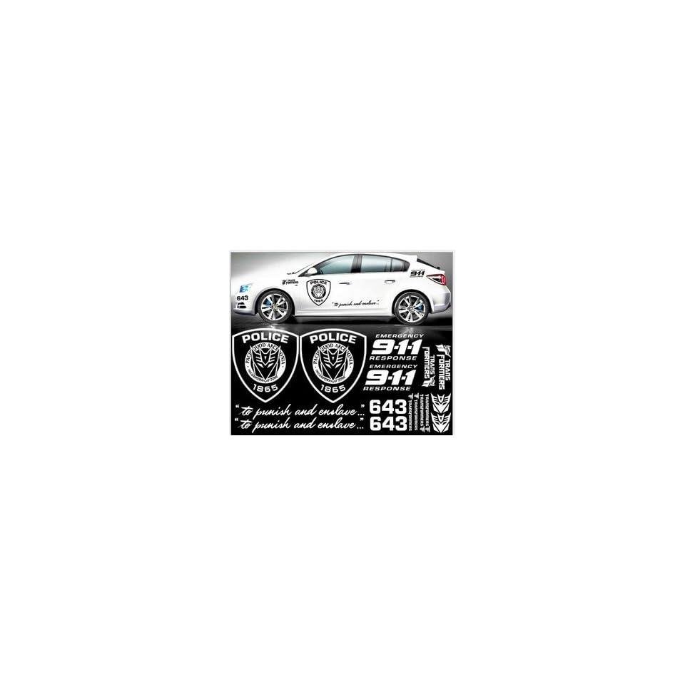 GINOVO Reflective White Color Car Refitting 9 11 POLICE TRANSFORMERS Car Sticker Decal for MG6, K2, K5, FOCUS, CRUZE, Lancer