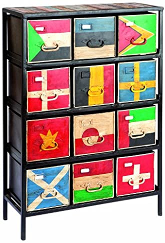 mauro ferretti 1412930000 mobiletto flags 12 cassetti cm 74x30x107cm