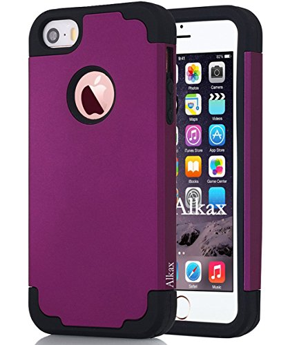 iPhone SE Case , iPhone 5S Case , iPhone 5 Case ,Alkax Dual Layer Armor Heavy Duty Rugged Defender Slim Fit Hybrid Series Protective Cover Soft-Interior+Hard for Apple iPhone SE 5S (Dark purple) (Iphone 5s Case Protective Owl compare prices)