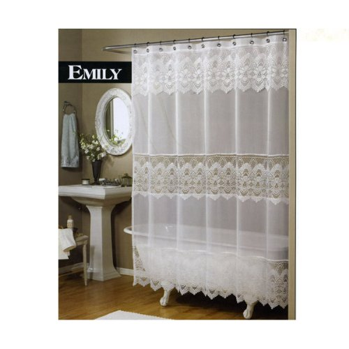 Best Emily Sheer Voile & Lace Shower Curtain white For