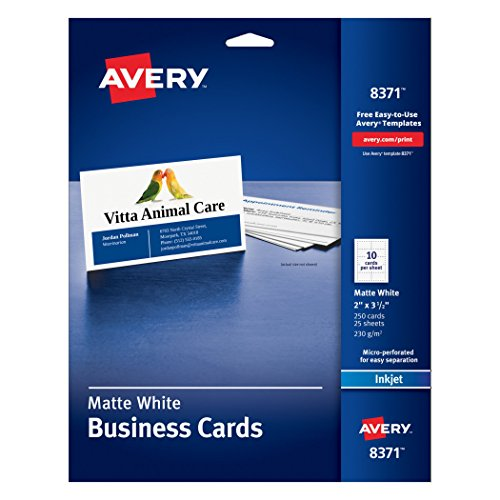 avery business cards for inkjet printers matte white pack of 250 8371 - Halloween Stores Colorado Springs
