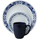 Corelle Livingware 16-Piece Dinnerware Set, True Blue, Service for 4