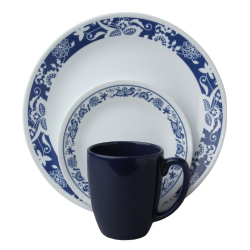 Corelle Livingware 16 piece Dinnerware Set, Service for 4, True Blue