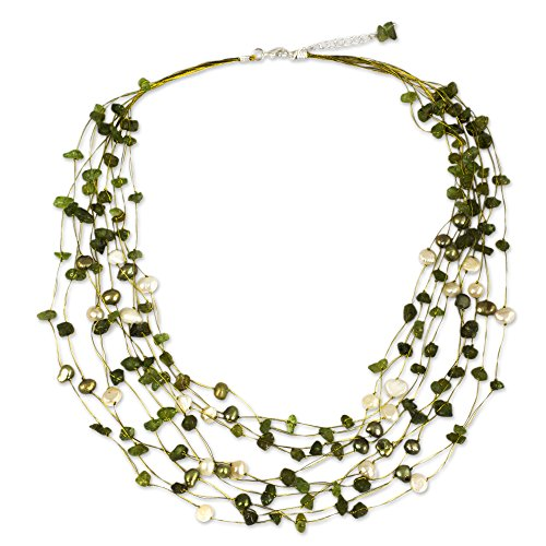 NOVICA Peridot and Dyed Cultured Freshwater Pearl Strand Necklace, 20 Inches Chain