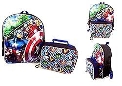 Marvel Avengers Kids School Backpack & Lunch Bag - Hulk, Ironman, Thor, Captain America