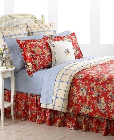 Ralph Lauren Madeline European Pillow Sham, Cream Blue Dish Towel Plaid