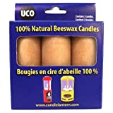 UCO 12-Hour Natural Beeswax Candles for Candle Lanterns - 3-Pack