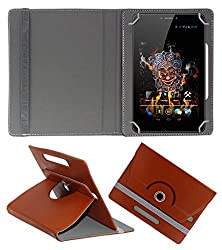 Acm Rotating 360° Leather Flip Case For Ice D3 Spectra Tablet Cover Stand Brown