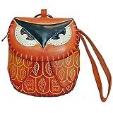 Mr. Orange Owl Jr. - Handmade Leather Orange Owl Coin Wristlet