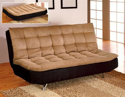 Microfiber Futon Sofa/Bed In Espresso Camel in Camel Espresso Finish by Furniture of America