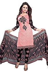 Aika Fashion Women's Crepe Fabric Printed Unstitched Regular Wear Dress Material In Pink Color (Free Size_DR016HA1265-at)
