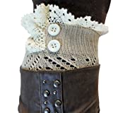 Luxury Divas Beige Knit Boot Cuff Topper Liner Leg Warmer With Lace Trim