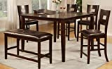 Counter Height Bar Table Set in Dark Brown Finish