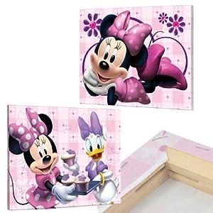 2er Set MINNIE MOUSE Bilder auf Keilrahmen 40x30 Kinderzimmer Bilder ...