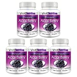 Vivid Nutrition Premium Acai (5 Bottles) - High Potency, Pure Acai Berry Supplement. All-Natural Diet, Weight Loss, Colon Cleanse Formula. 515mg - 30 Capsules per Bottleby Vivid Nutrition