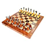"14"" X 14″ Collectible Wooden Chess Game Board Set+ Brass Staunton Figure Pieces"