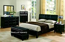 Big Sale 4pc Queen Size Bedroom Set in Black Bycast Like Vinyl
