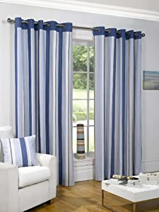 "Striped Cotton Mix Ring Top Lined Blue Cream 66"" X 90"" Thick Curtains *wotsdap* from PCJ SUPPLIES"