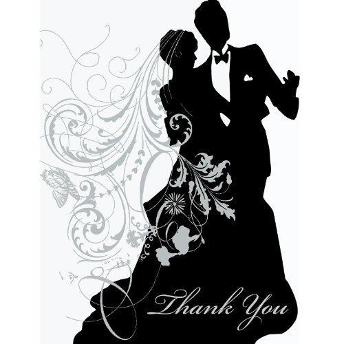 Wedding Silhouette Thank You Cards 25 Per Pack