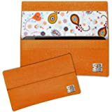 SIMON PIKE Paisley Hülle Handytasche NewYork 10 orange für Apple iPhone 5S 5C 5 aus Filz