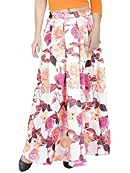 SVT ADA COLLECTIONS WHITE COTTON SATIN STRTECHABLE FLORAL LONG SKIRT(044206A_White_FS)
