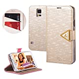 Moon Monkey High Quality Crystal Fashion Bling Magnet Adsorption Case for Samsung Galaxy S5 I9600 with Wallet and Stand Function (Champagne)
