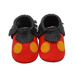 Sayoyo Soft Sole Leather Baby Shoes Baby Moccasins Ladybug (24-36 months,Red)