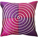 "EtsiBitsi Spiral Patch 16"" By 16"" Silk Plain Zipper Cushion Cover- Purple Pink"