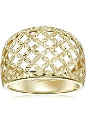 14k Yellow Gold Italian Filigree Dome Ring, Size 7