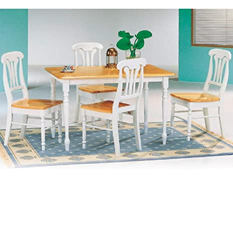 5 Piece White & Natural Dining Table & Napoleon Solid Wood Chairs Set