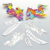Planeurs-Licornes-Arc-en-ciel-en-Polystyrne--Colorier-que-les-Enfants-pourront-Peindre-avant-dy-Jouer-Lot-de-6