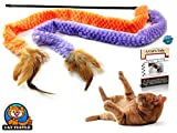 2 Soft Furry and Feather Teaser and Exerciser For Cat and Kitten - Cat Toy Interactive Cat Wand