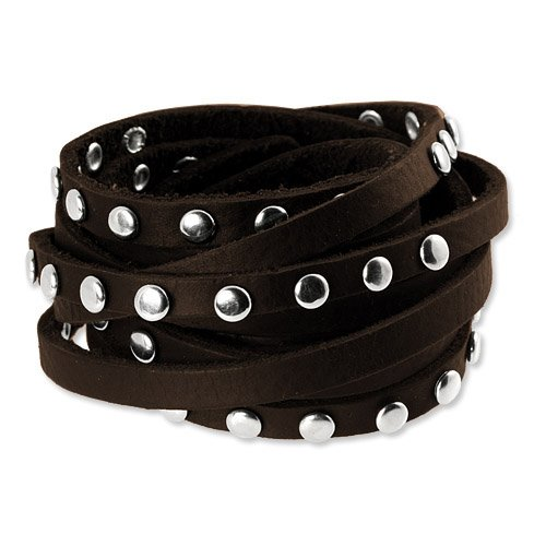 SilberDream Leather Bracelet brown with Rivets fits 6.5'' to 10'' for Women or Men Leather Bracelets genuine Leather LA2250B