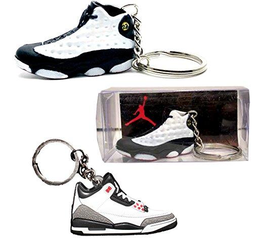 (3D AJ13 Keychain + Case) Air Jordan Michael Jordan Shoe Game Basketball Jumpman Key Chain Keychains (Jordan Keychain Shoe compare prices)