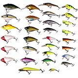 Free Fisher New 30pcs Super Fishing Floating Lures Collection with Rattles Color Random