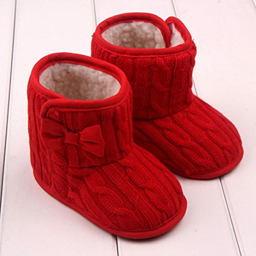 Creazy® Baby Bowknot Soft Sole Winter Warm Shoes Boots (3-6 months, Red)