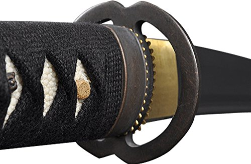 Handmade Sword - Japanese Style Samurai Tanto Swords, Functional, Hand Forged, 1045 Carbon Steel, Heat Tempered, Full Tang, Sharp, Musashi Tsuba, Black Wooden Scabbard (Ninja Tanto Battle Package compare prices)