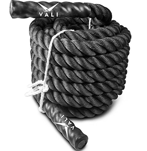 "VALI Battle Rope 1.5"" Width Diameter 50 Feet Length For Exercise, Cross Training, & High Intensity Workout. Durable Pro Grade 3 Strand Twisted Black Ropes. Build Strength with Waves, Throws, & Slams"