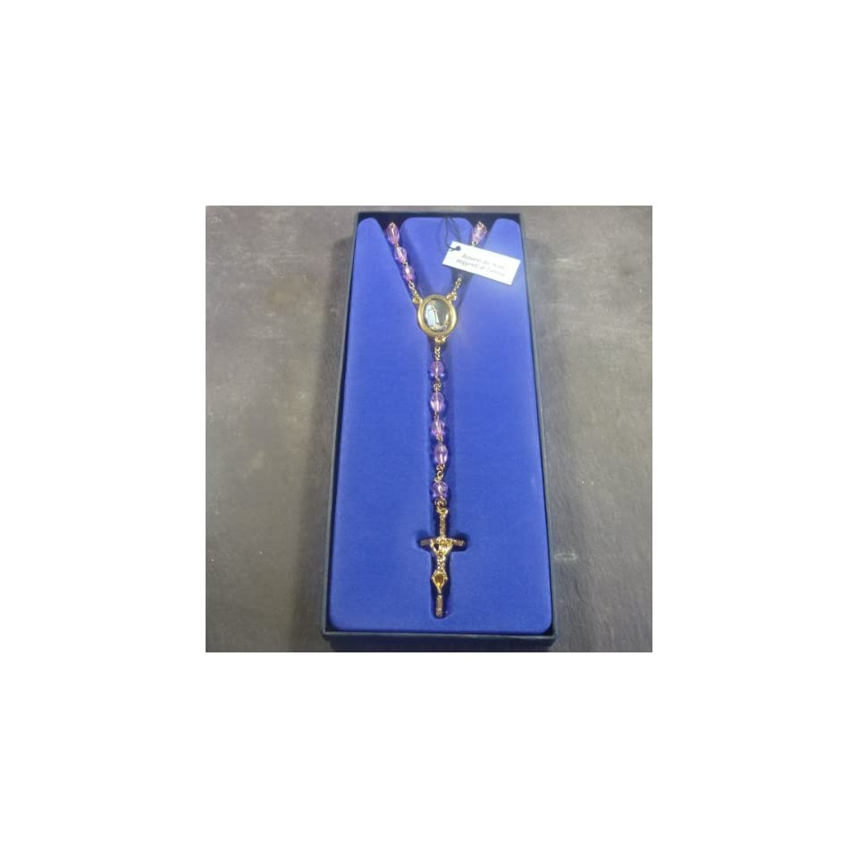 Our Lady of Fatima purple glass teardrop rosary beads gold tone chain 79   Collectible Figurines