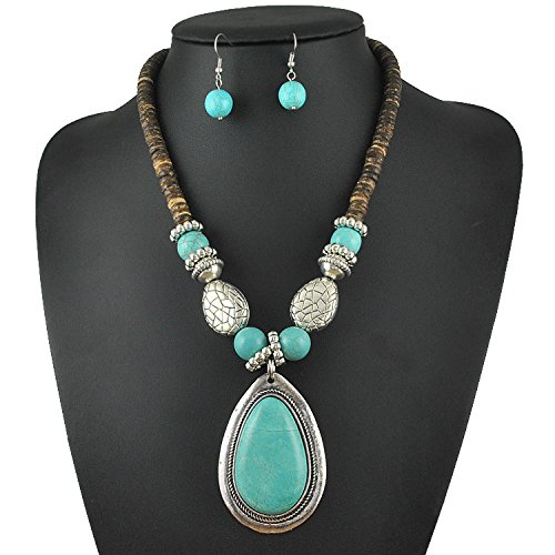 Chic African Jewelry Set Big Stone Pendants Necklace And Earring Sets For Women