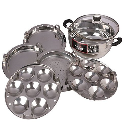 stainless steel sandwich base multi purpose kadai with glass lid 5 plates 27 cm 4750ltrs 1pc 2 idli plates 3 dhokla patra plates silver - Patre Boules Colores