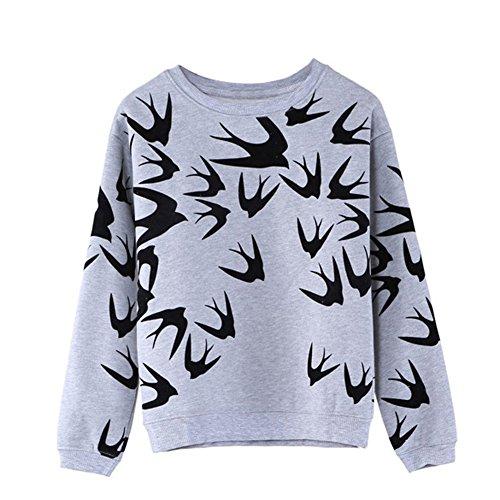 Fedi Apparel Women Men Flying Swallow Print Long Sleeve Sweater Pullover Tops Sweatshirt