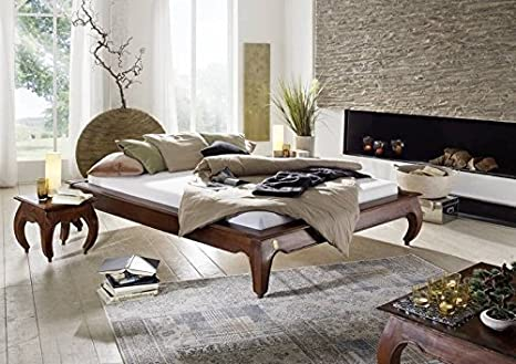 Massivmöbel Akazie Bett 120x200 Holz Möbel massiv nougat Opium #261