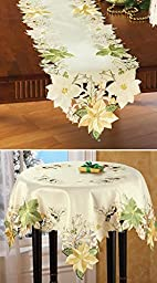 Embroidered Cream And Gold Poinsettia Table Topper Linens Runner by Collections Etc